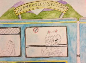 drawing of Perthshire Pooch on a train