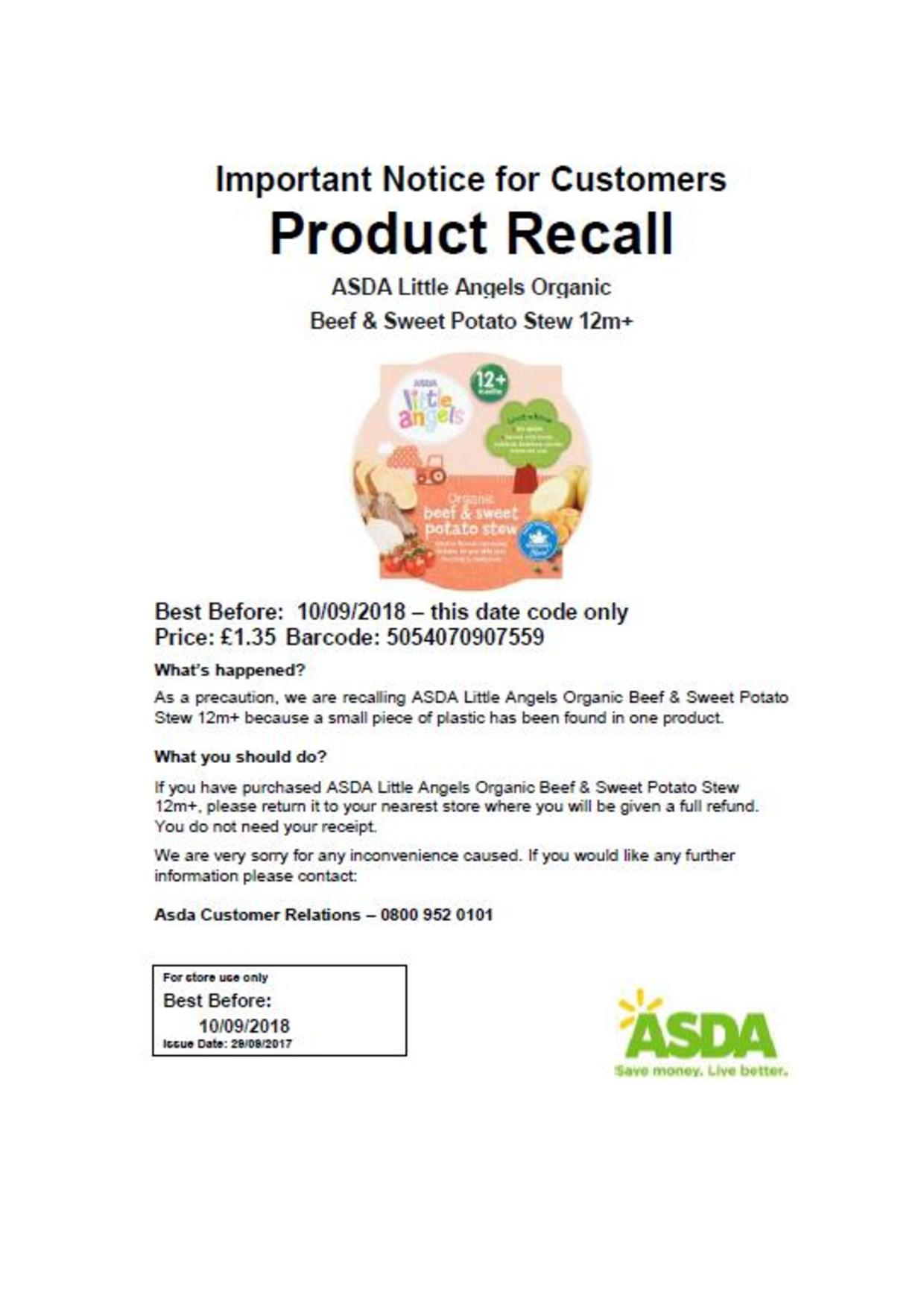 Recall Baby Food
