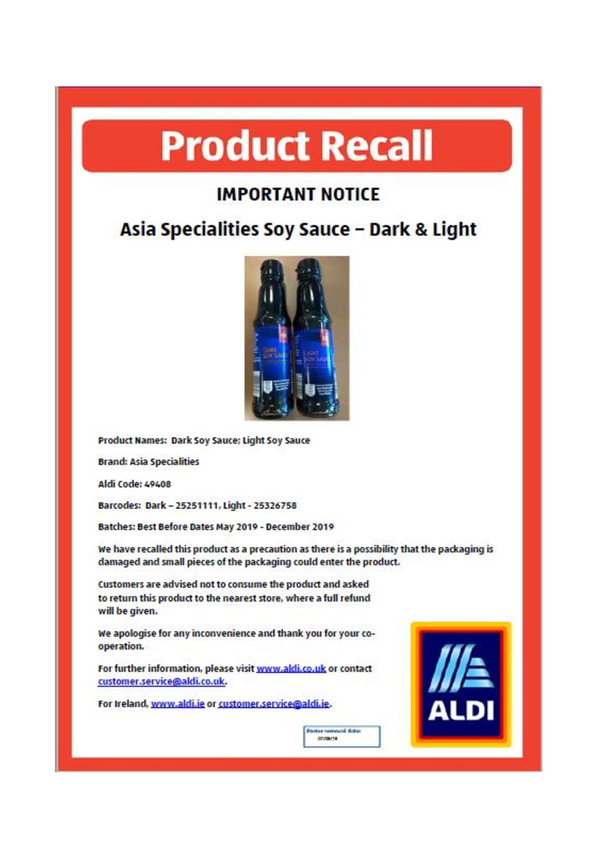 Product Recall Notice For Various Soy Sauce Lang Toon Times